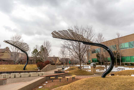 Denver, Colorado - March 21, 2021: The Lowry Reading Garden, a beautiful neighborhood park in Denver, Colorado