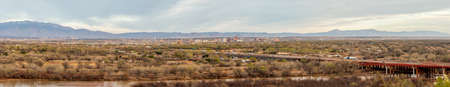 Southwest living. Albuquerque Metro Area Residential Panorama with the view of Sandia Mountains on the distance viewed from the West Bluff Park 版權商用圖片