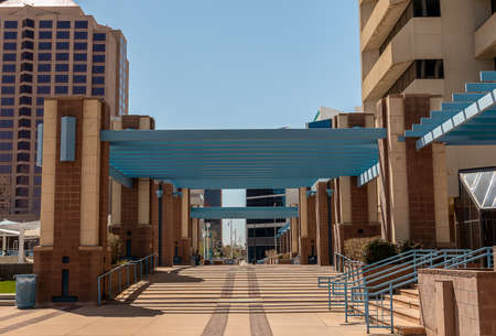 Albuquerque, New Mexico - April 2, 2021: Beautiful architecture of Civic Plaza in downtown Albuquerque, New Mexico.