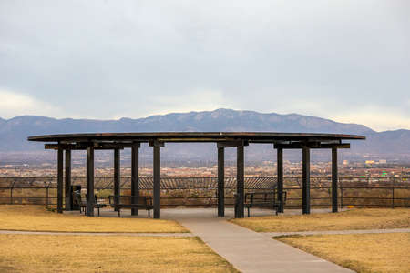 West Bluff Park in Albuquerque, New Mexico, with a scenic view of the city and Sandia Mountain