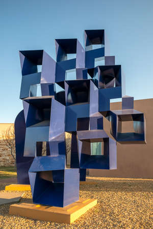 Albuquerque, New Mexico - April 4, 2021: Abstract sculpture in front of Albuquerque Museum of Art and History