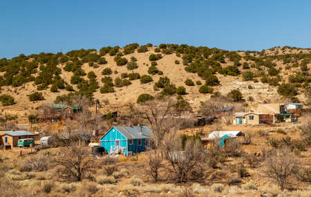 Albuquerque, New Mexico - April 3, 2021: The town of Madrid on the scenic Turquoise trail in New Mexico.