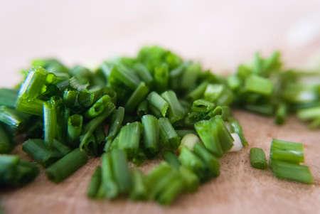 cebolleta: cebolletas cortadas Foto de archivo