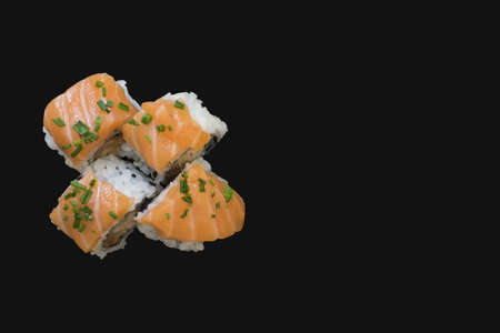 Sushi food in a dark background