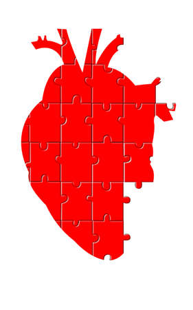 An illustration of a red puzzle of an anatomic heart incomplete