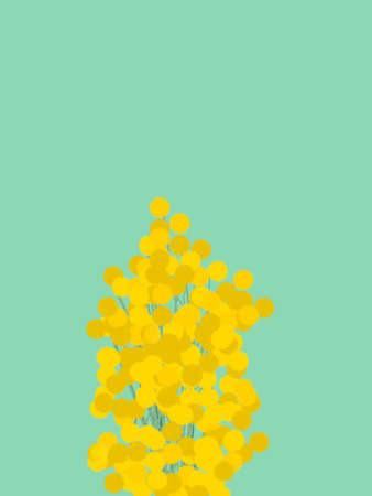 Un'illustrazione della pianta di mimose con sfondo. Vettoriali