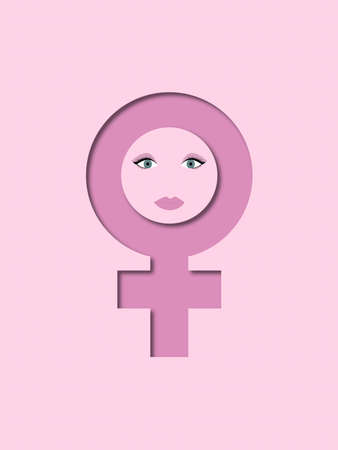 A background of female symbol with a face Banque d'images - 121608563