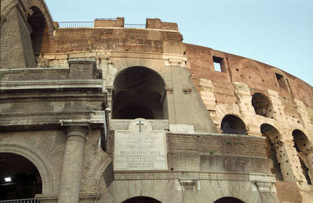 Detail of the Colosseum in Rome, Italy photo