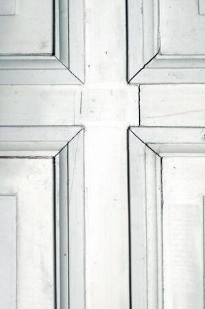 Old rustic wooden white door detail photo