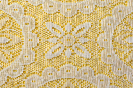 tablecloth: White lace on yellow background