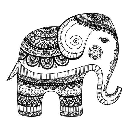Indian elephant. Hand drawn doodle indian elephant with tribal ornament. Vector ethnic elephant. Illustration