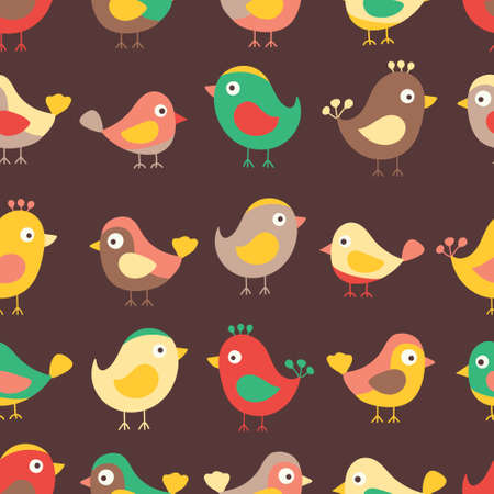 autmn: Hand drawn seamless pattern with cute birds. Fun birds for kids design. Vector. Autmn colors - red, yellow, brawn and green. On brawn background.