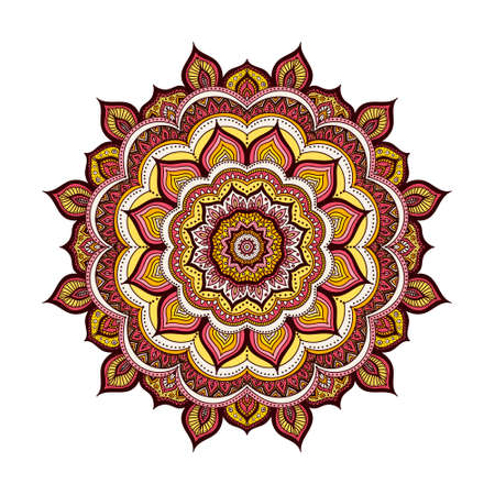 mongoloid: Vector hand drawn doodle mandala. Ethnic mandala with colorful ornament. Isolated. Yellow, orange, pink, red, white and black colors.