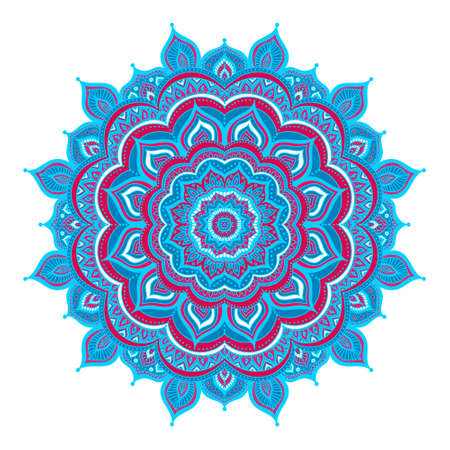 mongoloid: Vector hand drawn doodle mandala. Ethnic mandala with colorful ornament. Isolated. Red, white and blue colors. Illustration