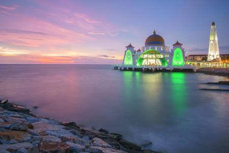Malacca Straits Mosque (Masjid Selat Melaka), Malacca, Malaysia during sunset, located on the man-made Malacca Island near Malacca Town, Malaysia