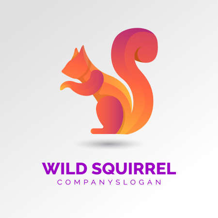 wild squirrel gradient logo concept