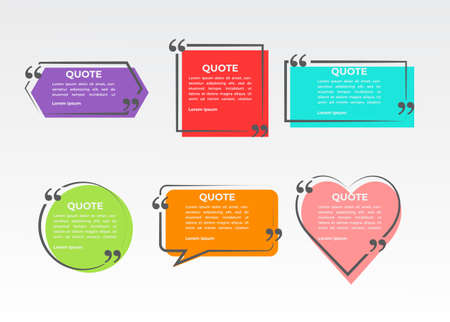 quote frame set collection. abstract speech bubble quotes