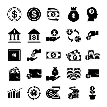 financial icon set template