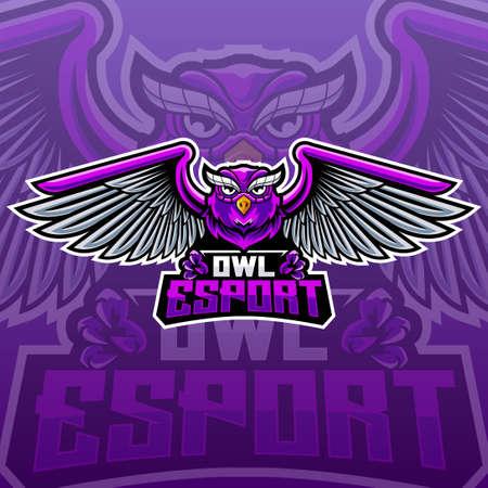 purple owl e-sport logo concept