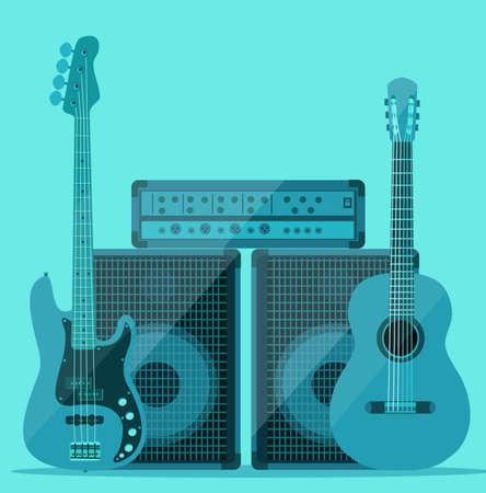 sound system: guitar and sound system Illustration