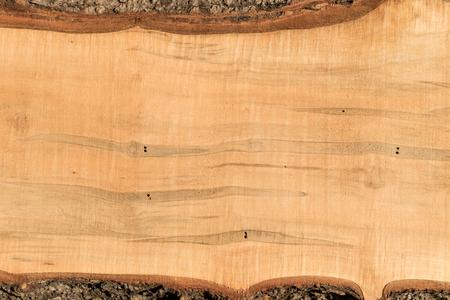 나무 껍질 가장자리와 거친 sawn ambrosia 메이플 보드를 닫습니다.