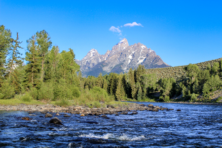 Grand teton view from snake river in the summer Stock Photo