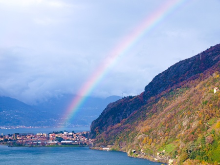 photomanipulation: a shot of a beautiful rainbow over Lake Como, Italy (no photomanipulation) Stock Photo