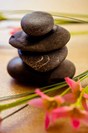 a shot of black stones and pink flower to depict wellness and beauty Stock Photo - 10866834