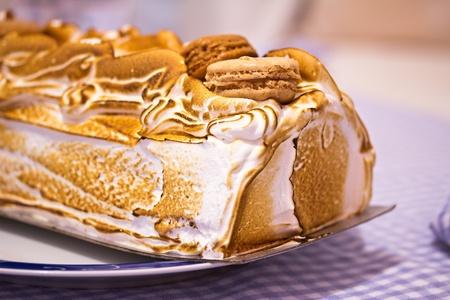 macro shot of a Norwegian omelette (or Baked Alaska) cake