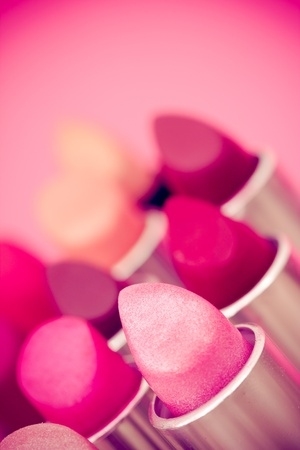 cosmetics  lipsticks shot at shallow depth of field