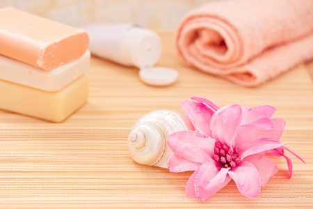 soap, towel, flower for a daily spa/bath image Stock Photo - 13008543