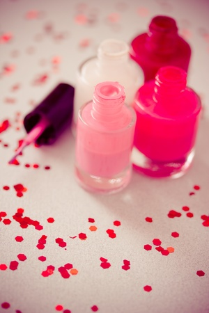 set of different nail polish colors photo