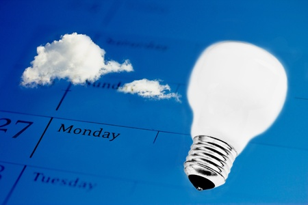 lightbulb and sky on business agenda, symbol of innovation Stock Photo - 13230621