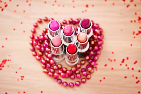 lipsticks colors with red necklace Stock Photo - 13751064