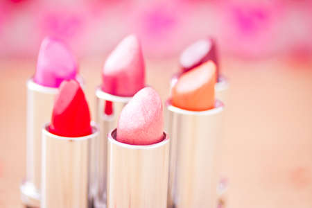collection of different lipsticks colors photo