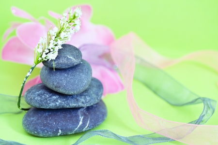 natural beauty care and wellbeing, spa stones and flowers photo