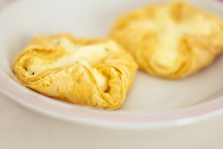 puff: healthy recipe with puff pastry and cheese Stock Photo