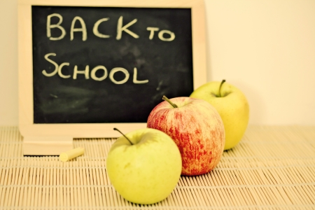 teaching material: blackboard and apples, back to school concept