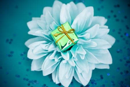 green xmas gift, concept of environmental friendly shopping photo