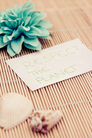 a memo asking to respect the planet Stock Photo - 17331266