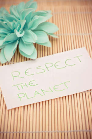 a memo asking to respect the planet Stock Photo - 17331276