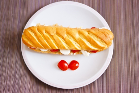 healthy snack  tuna, tomatoes and mozzarella sandwich Stock Photo - 18633324