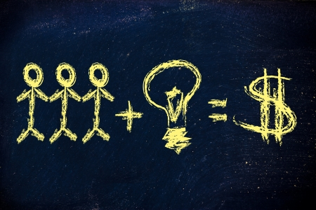 employee teamwork and ideas are needed for company success and earnings  dollar version