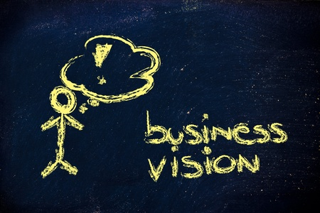 funny character showing confidence about a clear business vision mission photo