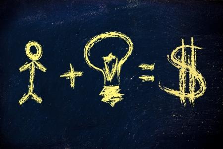 Capital humain et de bonnes idées font une entreprise prospère avec une bonne version du dollar de revenu Banque d'images - 19428051