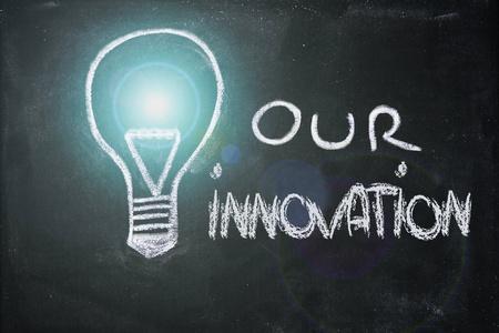 lightbulb and innovative business chalk design on blackboard photo