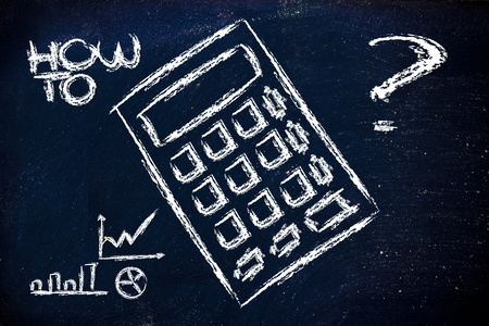 indexes: blackboard with design of business indexes calculator Stock Photo