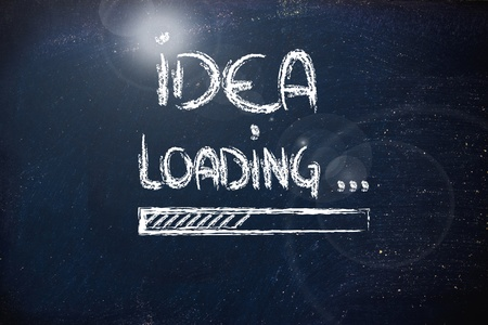 aspirations ideas: design of progress bar on blackboard, loading an idea Stock Photo