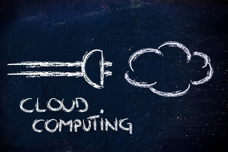 funny chalk design representing cloud computing photo