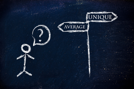 average: metaphor humour design on blackboard, average vs. unique products